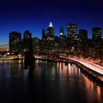 Lower Manhattan and the Brooklyn Bridge at Night