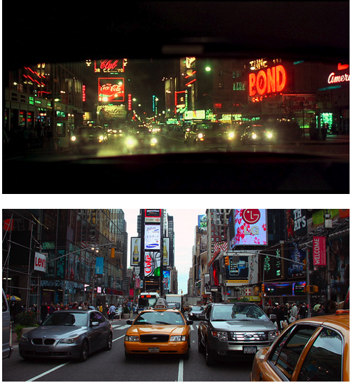 Times Square through Travis Bickle's Rearview Mirror, 1976; Times Square Today