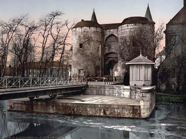Ghent gate, Bruges, Belgium. Photo taken between 1890 and 1900