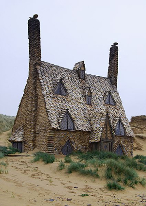Shell Cottage built on Freshwater West, photo by Russ Hamer