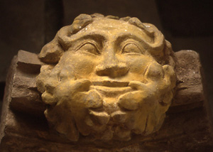 Green man carving from Dore Abbey, Herefordshire, England