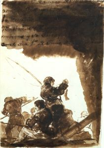 Francisco de Goya y Lucientes (1746–1828), The Anglers, 1799, brush and brown wash on paper, The Frick Collection