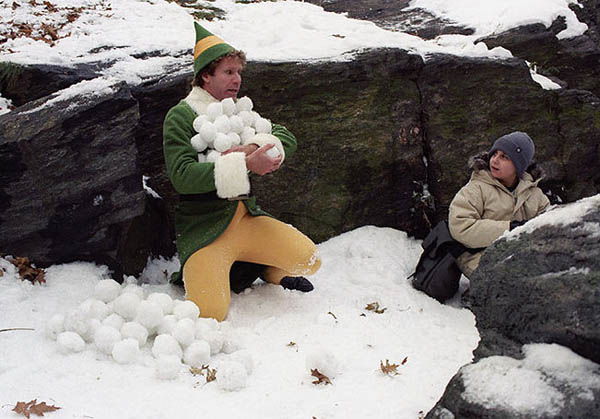 Buddy and Michael in a snowball fight