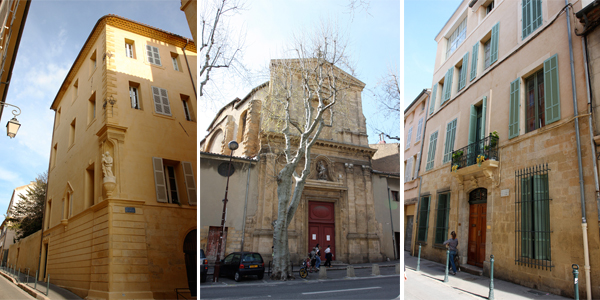 Left to right: Cézanne's Birth Home—He was born here on January 19, 1839 ; Church of Saint-Jean-Baptiste du Faubourg—Cézanne's wedding on April 29, 1886 ; Cézanne's Last Home—Cézanne died here after an attack of pleurisy during the night of October 22, 1906