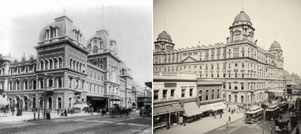 Grand Central Depot, c 1894 (left) and Grand Central Station, 1900