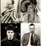 Clockwise from top left: Abraham Lincoln, Maurine Watkins, Mrs. O'Leary, Al Capone, Gloria Swanson, John Dillinger, Charlie Chaplin, Jane Addams, Muddy Waters, Captain Streeter