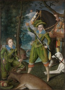 Henry Frederick with John Harington in the Hunting Field, 1603, Robert Peake the Elder