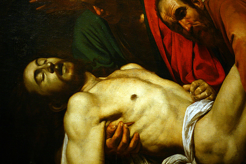 A detail from Caravaggio's 'Entombment of Christ', 1602