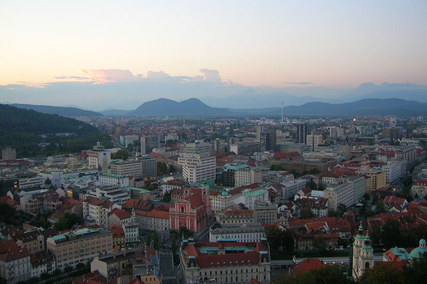 Ljubljana, a view from Ljubljana Castle. Source: taken from IndiaWest, via Flickr, via WikiCommons